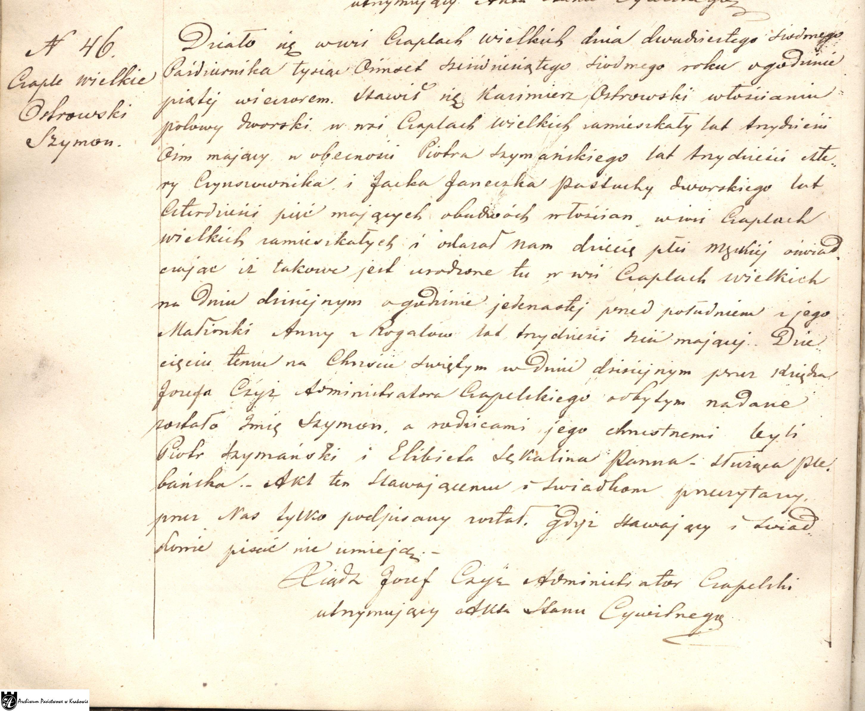 akt urodzenia Szymona Ostrowskiego s .Kazimierza i Any z Rogalów