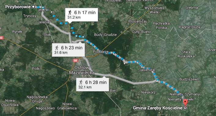 droga jaką mógł przemierzyć Stanisław Kempisty aby wiąźć ślub z Katarzyną Mikołajczykówną