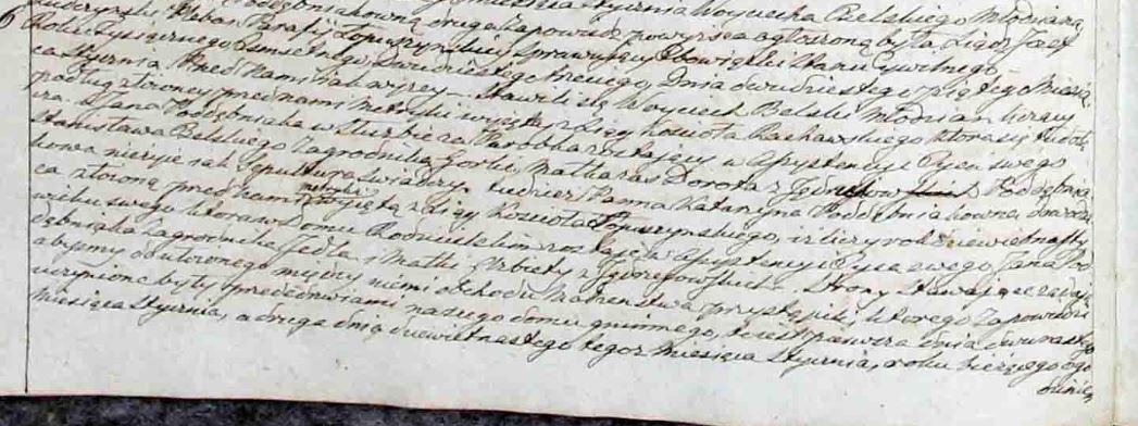 Część pierwsza ślubu Stanisława Belskiego z Katarzyną z Poddębniaków